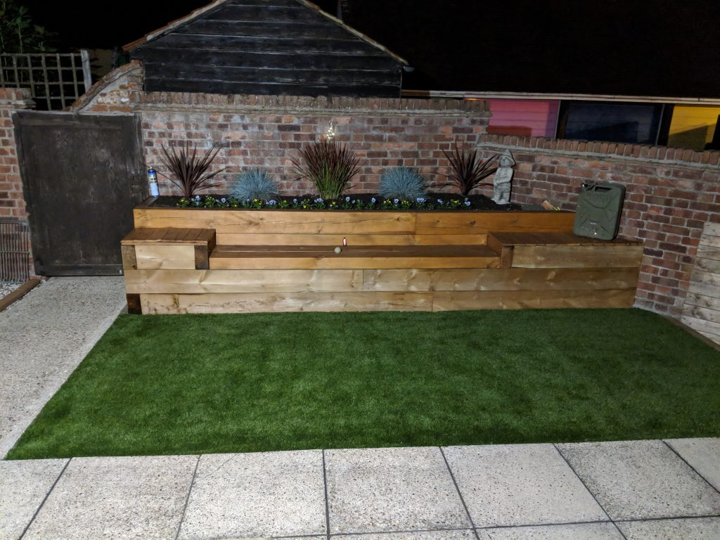 Astro Turf and Railway Sleeper Bench