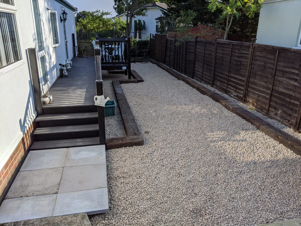 Stones and Railway Sleeper Edging